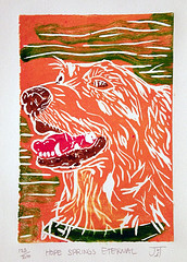 An origional Monoprint I created as a tribute to my golden retriever, Hope.